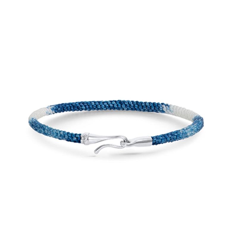 Ole Lynggaard Life armbånd i blå nylon med guld krog