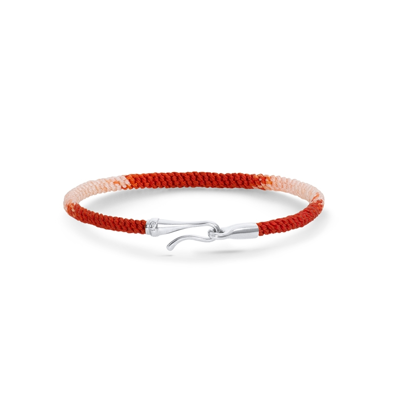 Ole Lynggaard Life armbånd i rød nylon med sølv krog