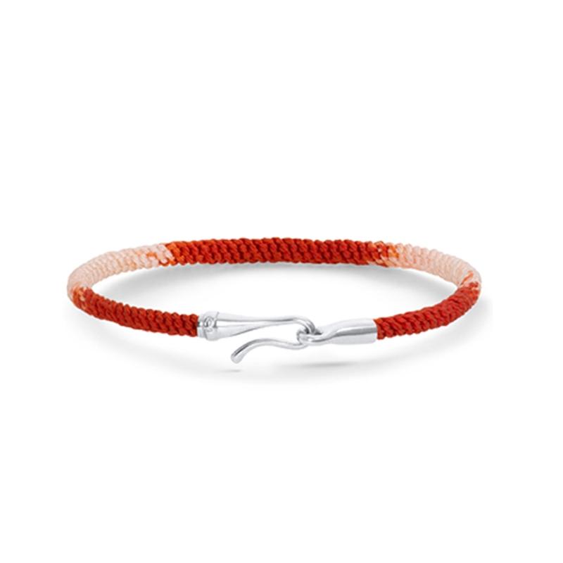 Ole Lynggaard Life armbånd i rød nylon med 18 kt. hvidguld krog