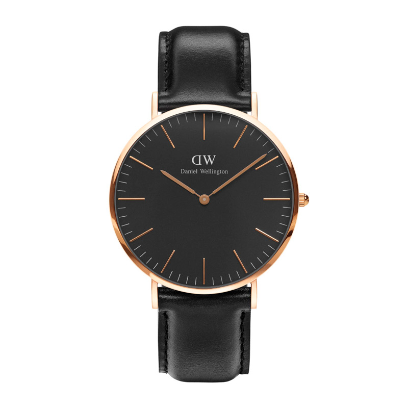 Image of   Daniel Wellington 40 mm Classic Black Sheffield i rosa med sort skive og sort læderrem