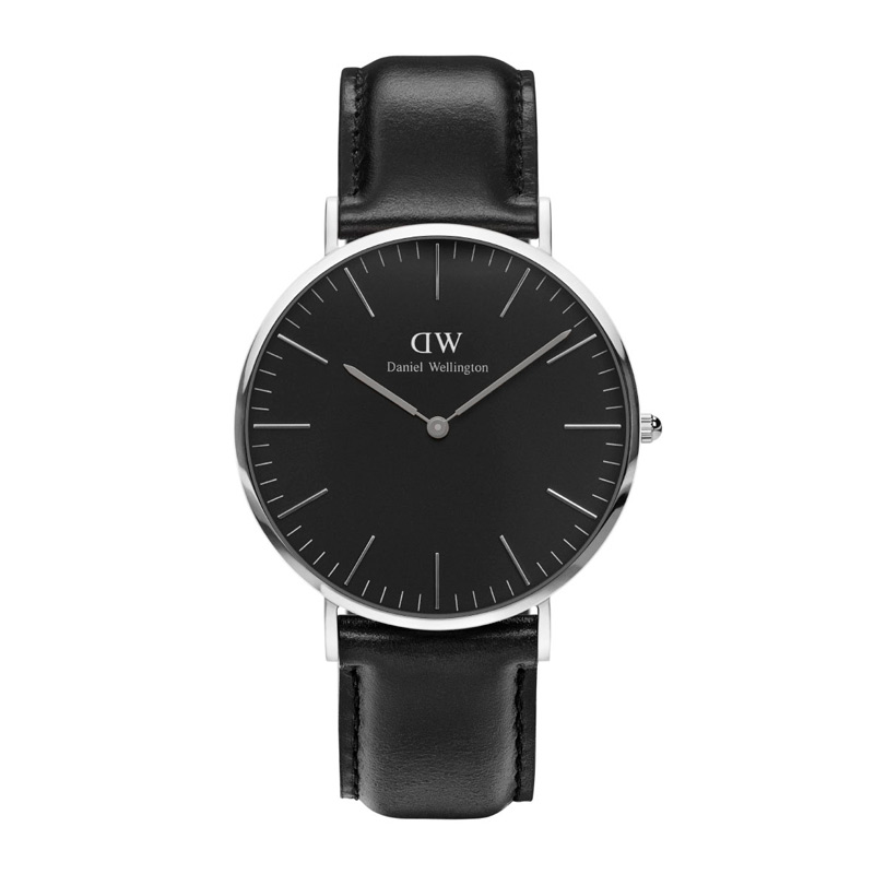 Image of   Daniel Wellington 40 mm Classic Black Sheffield i stål med sort skive og sort læderrem