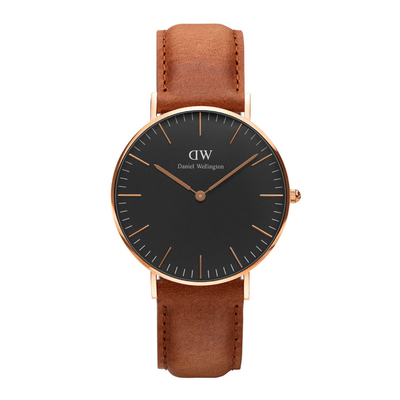 Image of   Daniel Wellington Classic Black Durham i rosa - 36 mm