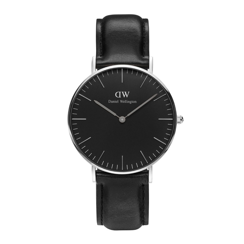 Image of   Daniel Wellington 36 mm Classic Black Sheffield i stål med sort skive og sort læderrem