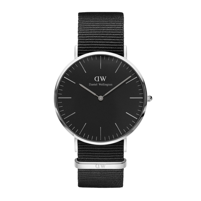 Image of   Daniel Wellington 40 mm Classic Black Cornwall i stål med sort skive og sort natorem
