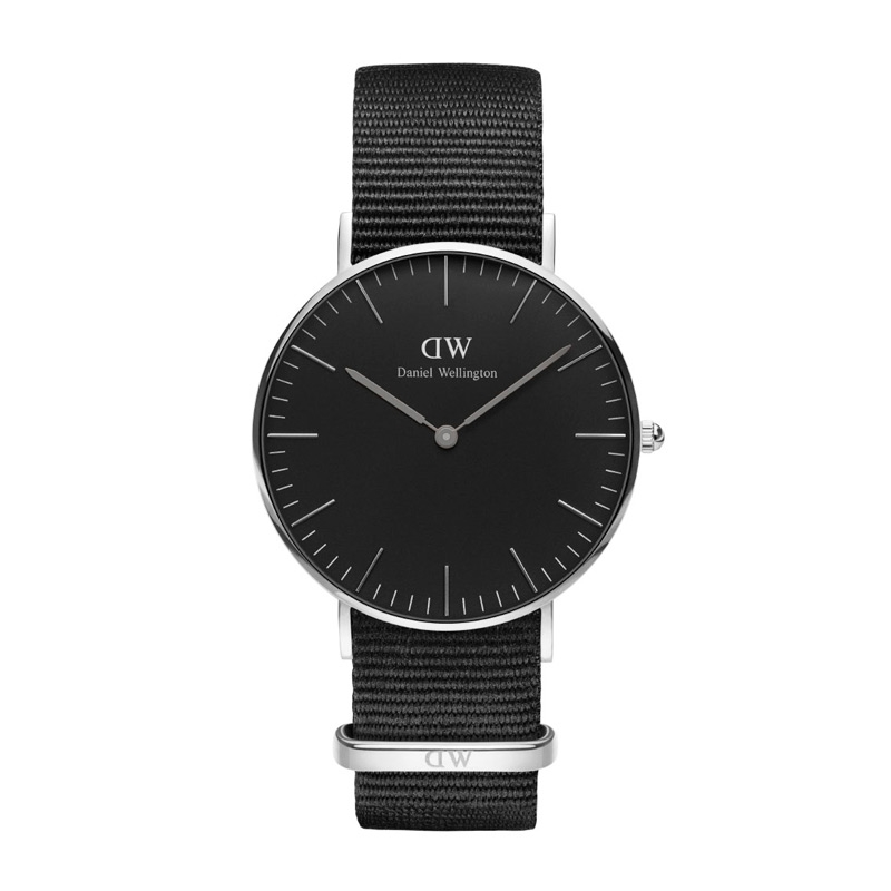 Image of   Daniel Wellington 36 mm Classic Black Cornwall i stål med sort skive og sort natorem