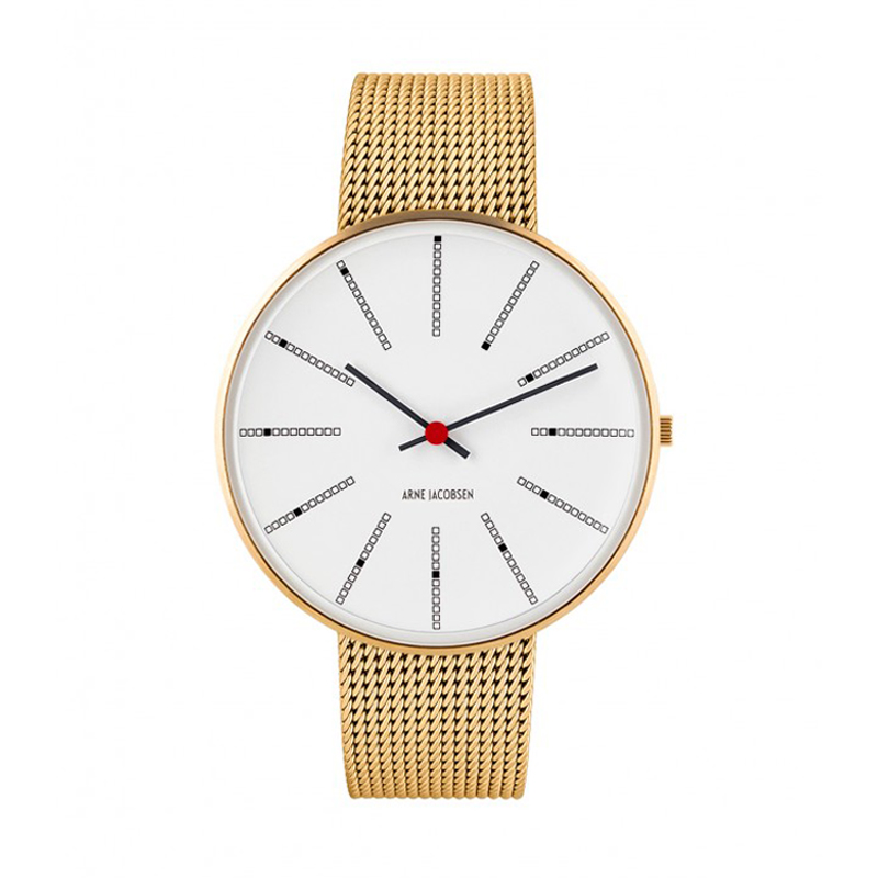 Image of   Arne Jacobsen Bankers Watch Unisexur, Forgyldt ø 40mm med mesh lænke