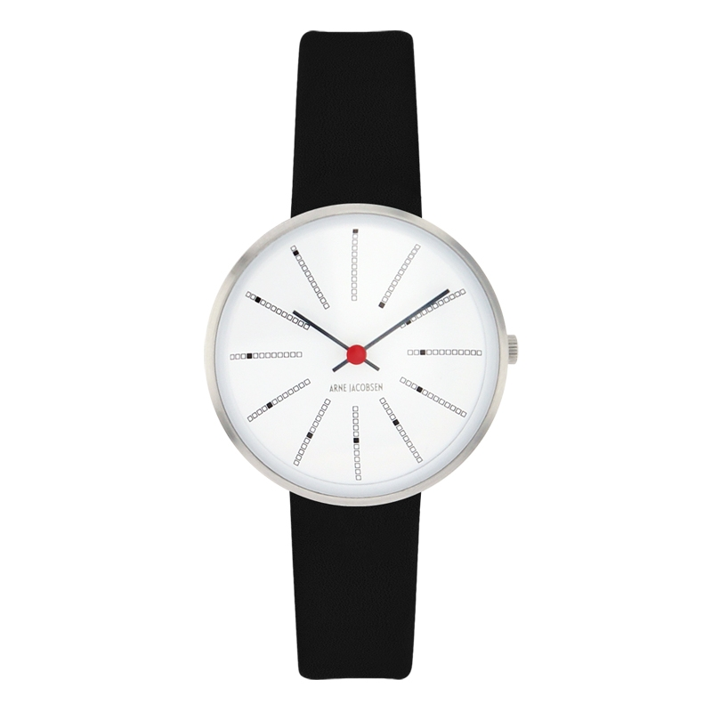 Image of Arne Jacobsen Bankers Watch armbåndsur, ø30 mm med sort rem