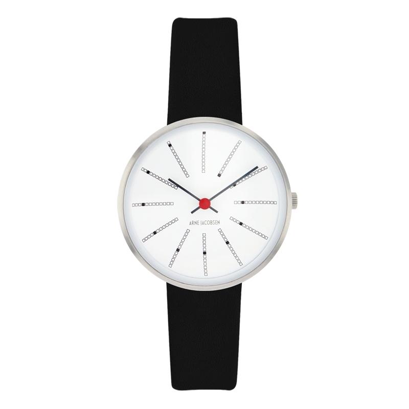Arne Jacobsen Bankers Watch armbåndsur, ø30 mm med sort rem