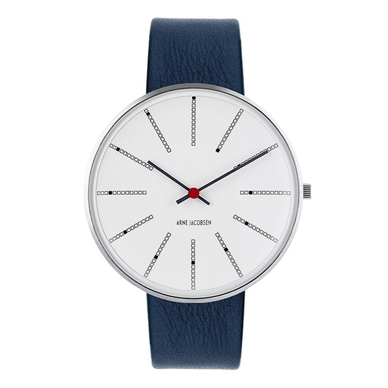 Image of Arne Jacobsen Bankers Watch armbåndsur ø 40mm med navy blå læderrem