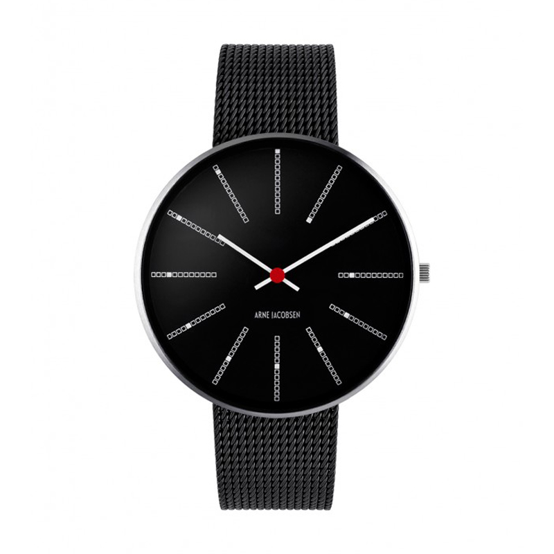 Image of Arne Jacobsen Bankers Watch Unisexur, Sort skive ø 40mm med sort mesh lænke