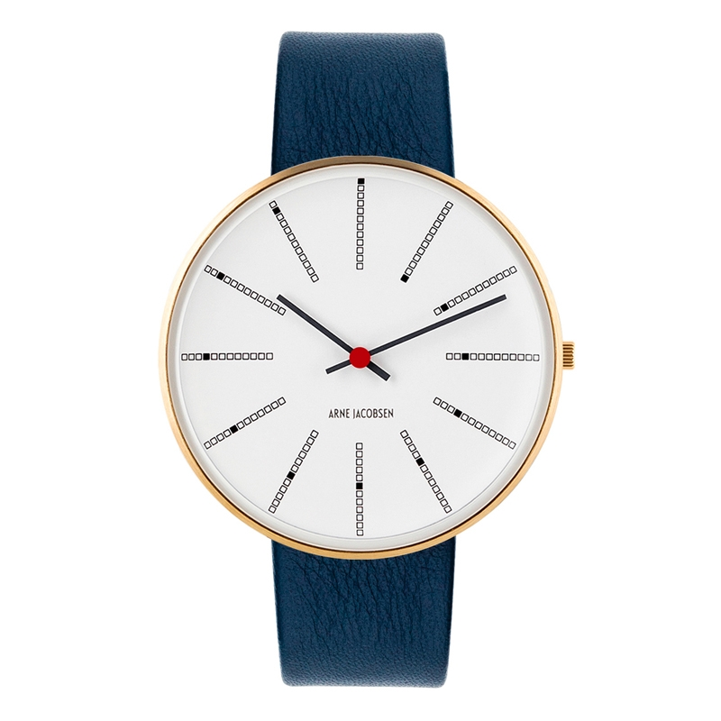 Image of   Arne Jacobsen Bankers Watch armbåndsur ø 40mm forgyldt med navy blå læderrem