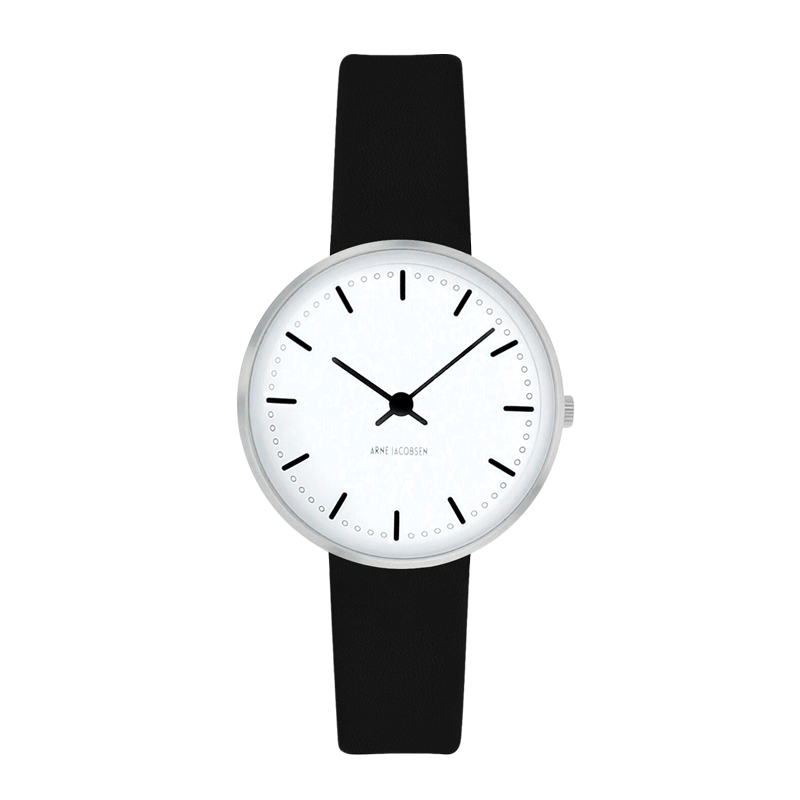 Image of ARNE JACOBSEN CITY HALL WATCH ARMBÅNDSUR, Ø30 MM MED SORT REM