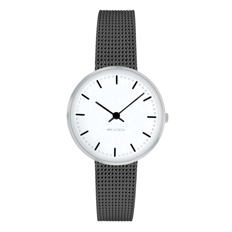Image of   Arne Jacobsen City Hall Watch armbåndsur, ø30 mm grå mesh lænke