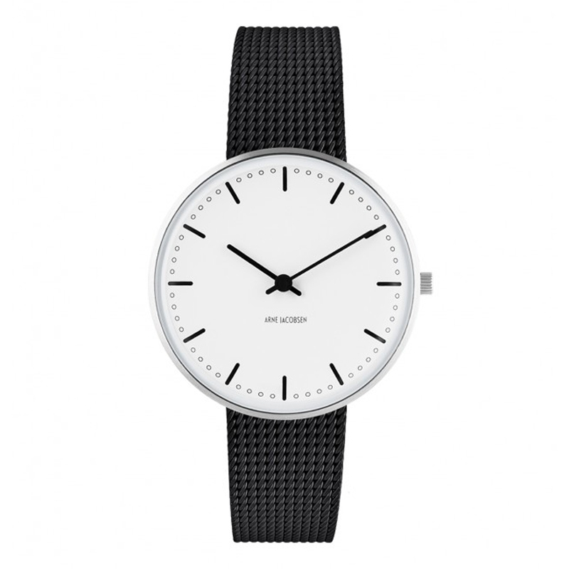 Image of Arne Jacobsen City Hall Watch unisexur, ø34 mm sort mesh lænke