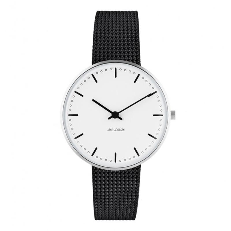 Image of Arne Jacobsen City Hall Watch unisexur, ø34 mm sort mesh lænke