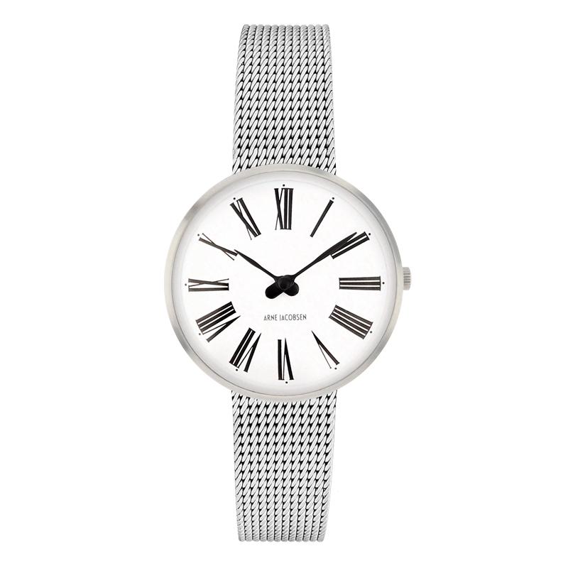 Image of   Arne Jacobsen Roman Watch armbåndsur, stål ø 30 mm med mesh lænke