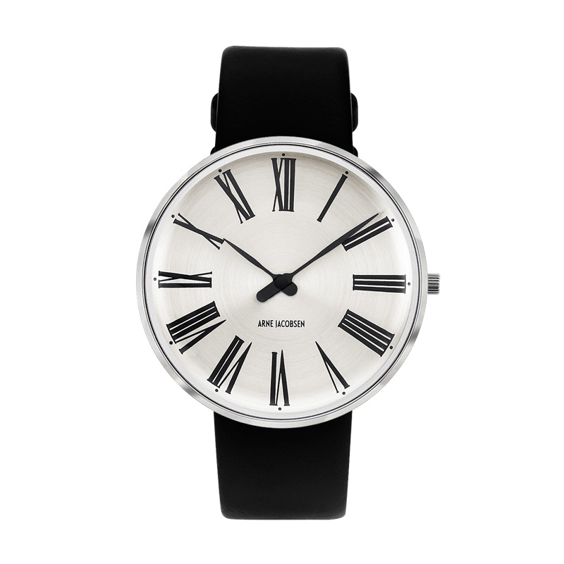 Image of   Arne Jacobsen 40 mm Roman Sunray Watch med sort rem og stålskive - Limited Edition