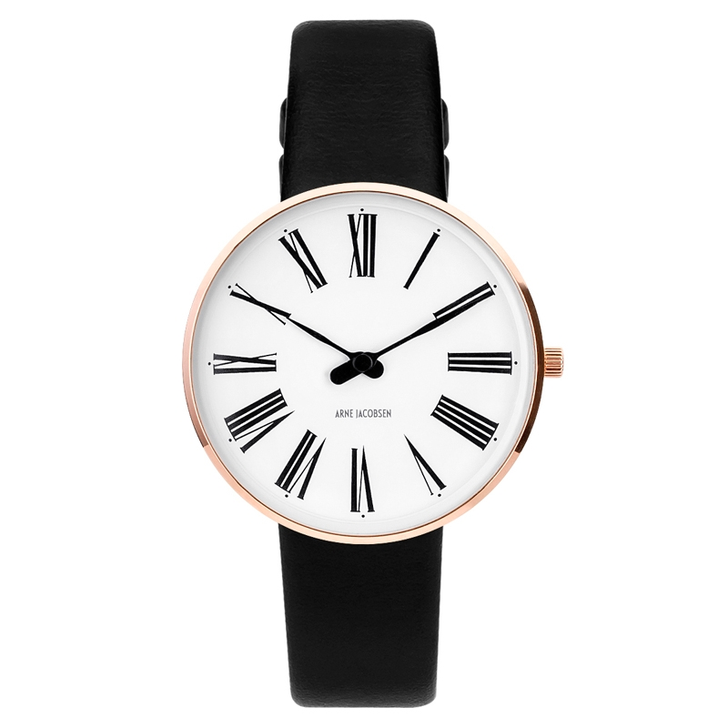 Image of   Arne Jacobsen Ø34 mm Roman Watch rose armbåndsur med sort rem