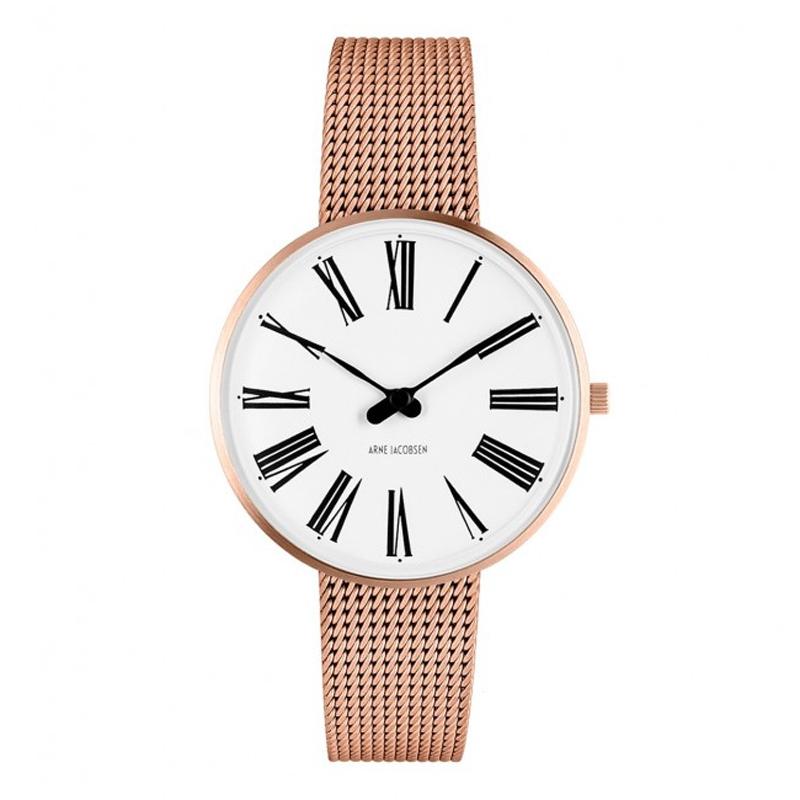 Arne Jacobsen Roman Watch Unisexur, rosaforgyldt ø 34mm med mesh lænke