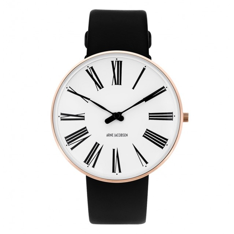 Image of   Arne Jacobsen Roman Watch Ø40mm unisexur, rosaforgyldt med sort rem