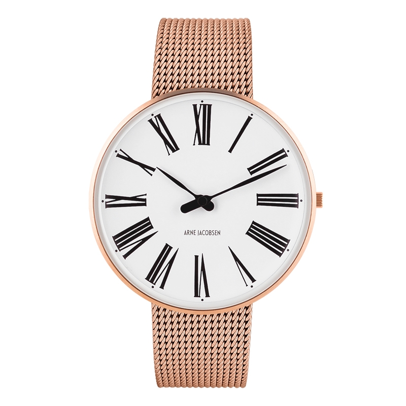 Image of   Arne Jacobsen Roman Watch armbåndsur, forgyldt ø40 mm med mesh lænke