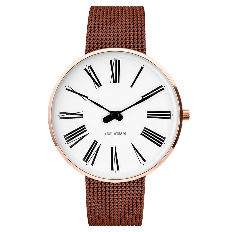 Image of   Arne Jacobsen Roman Watch armbåndsur, kobber/chokolade farvet ø 40mm med mesh lænke