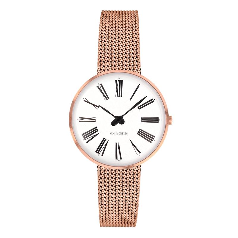 Image of   Arne Jacobsen Roman Watch armbåndsur, rosaforgyldt ø 30 mm med mesh lænke