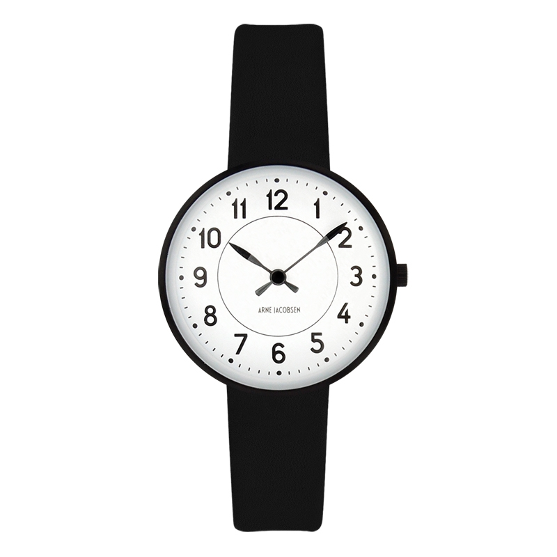 Image of   Arne Jacobsen Station Watch armbåndsur, ø30 mm med sort rem