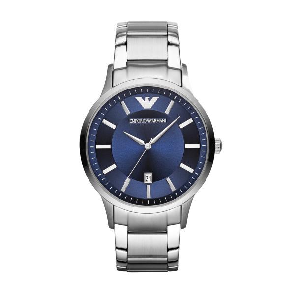 Image of   Emporio Armani Renato armbåndsur i stål med blå skive