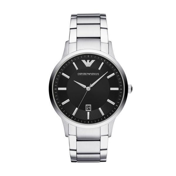 Image of   Emporio Armani Renato armbåndsur i stål med sort skive