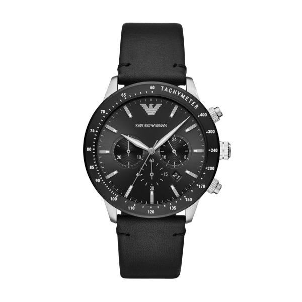 Image of   Emporio Armani Mario chronograph armbåndsur i stål med sort skive og læderrem