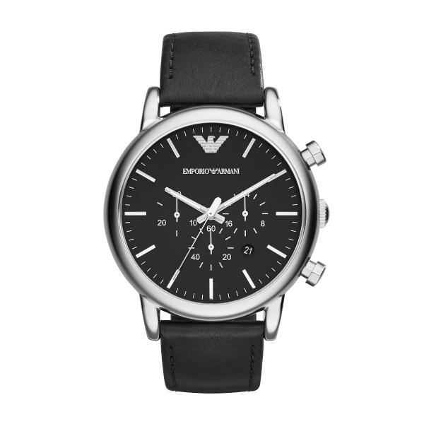 Image of   Emporio Armani Luigi chronograph armbåndsur i stål med sort skive og læderrem