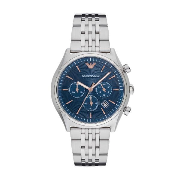 Image of   Emporio Armani Zeta chronograph armbåndsur i stål med blå skive
