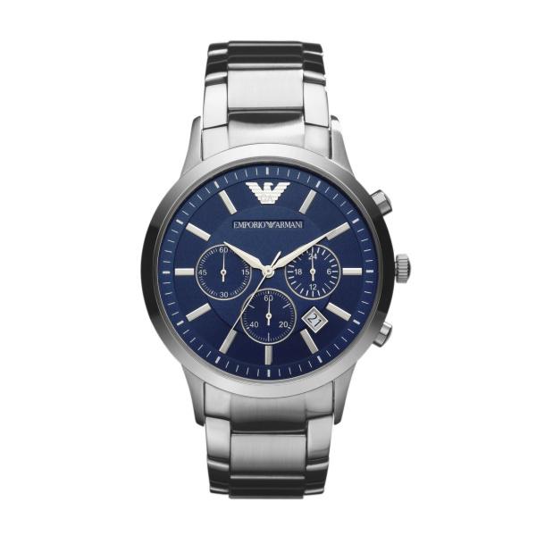 Image of   Emporio Armani Renato chronograph armbåndsur i stål med blå skive