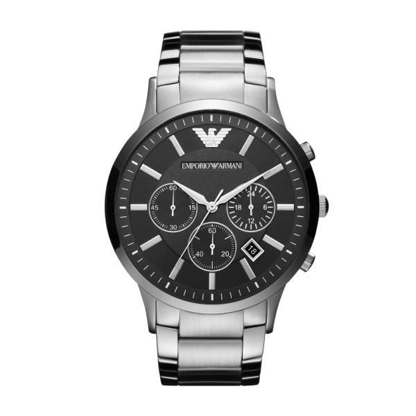 Image of   Emporio Armani Renato chronograph armbåndsur i stål med sort skive