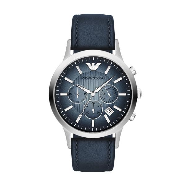Image of   Emporio Armani Renato chronograph armbåndsur i stål med mørkeblå skive og læderrem