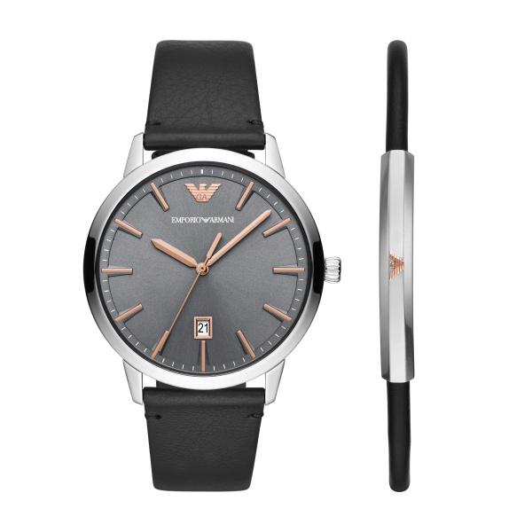 Billede af Emporio Armani Ruggero armbåndsur med rem og sort læderarmbånd, gavesæt