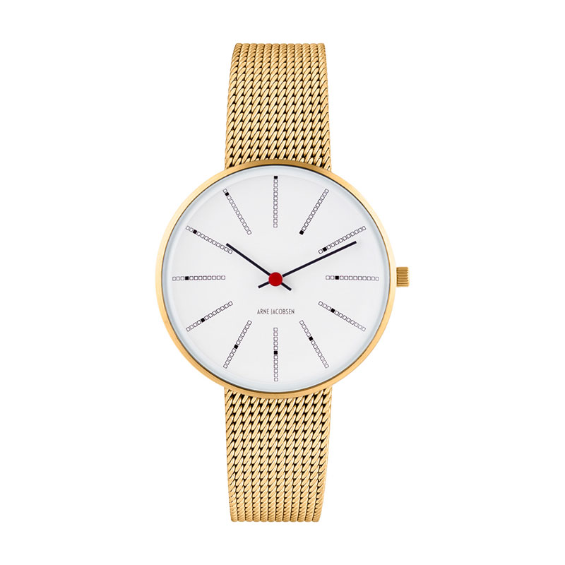 Image of   Arne Jacobsen Bankers Watch Unisexur, Forgyldt ø 34mm med mesh lænke
