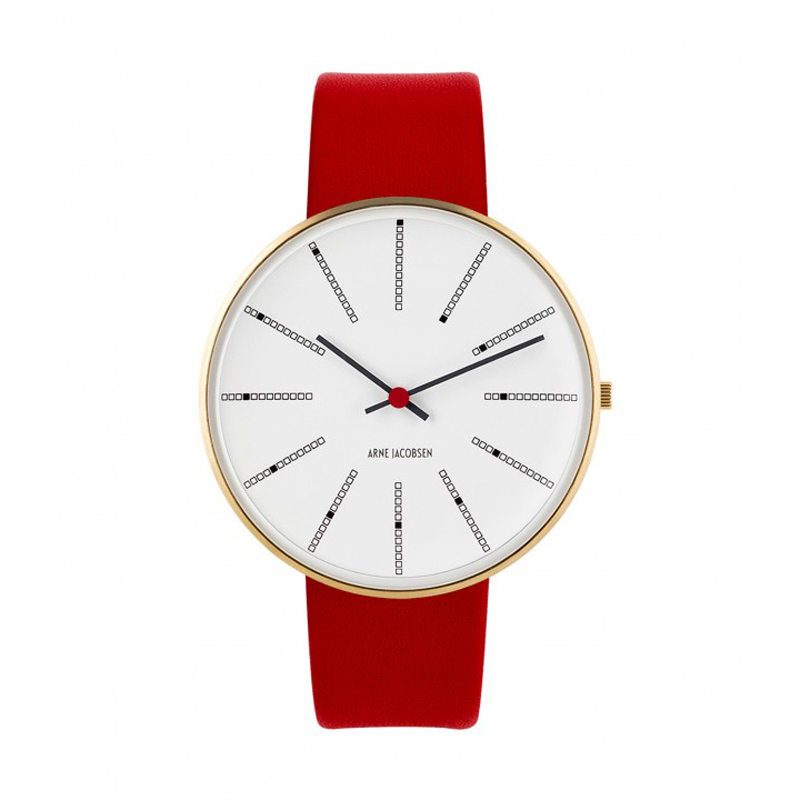 Image of Arne Jacobsen Bankers Watch armbåndsur, Forgyldt ø 40 mm med rød rem