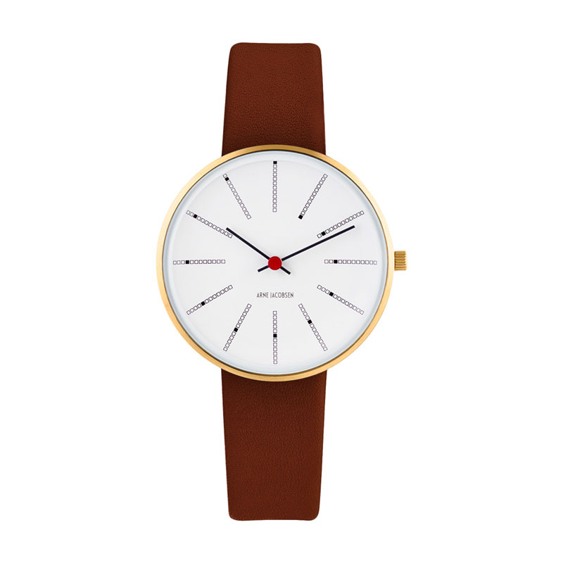Image of Arne Jacobsen Bankers Watch armbåndsur, Forgyldt ø34mm med brun rem