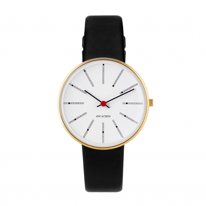 Image of Arne Jacobsen Bankers Watch armbåndsur, Forgyldt ø34mm med sort rem