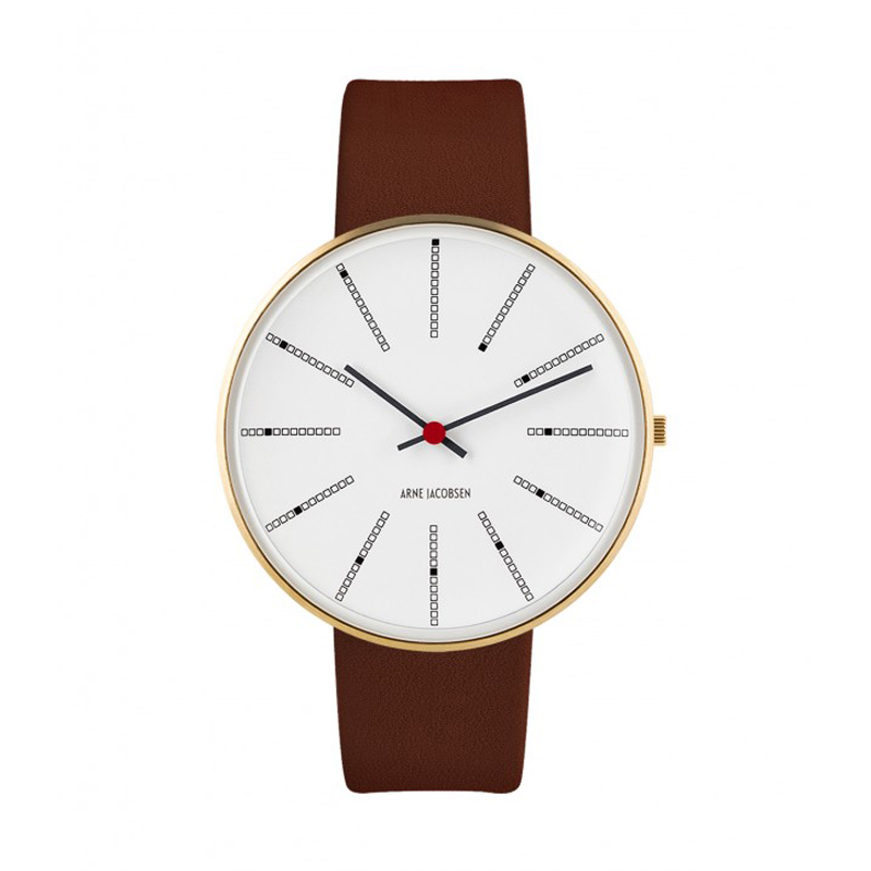 Image of   Arne Jacobsen Bankers Watch armbåndsur, Forgyldt ø40 mm med brun rem