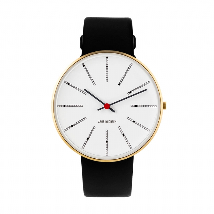 Image of Arne Jacobsen Bankers Watch armbåndsur, Forgyldt ø40mm med sort rem