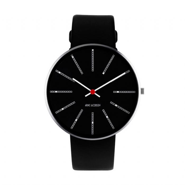 Image of Arne Jacobsen Bankers Watch armbåndsur ø40mm med sort rem