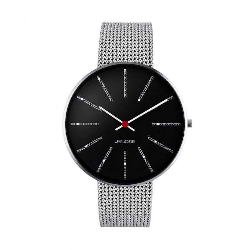 Image of   Arne Jacobsen Bankers Watch armbåndsur, Sort skive ø 40mm med mesh lænke