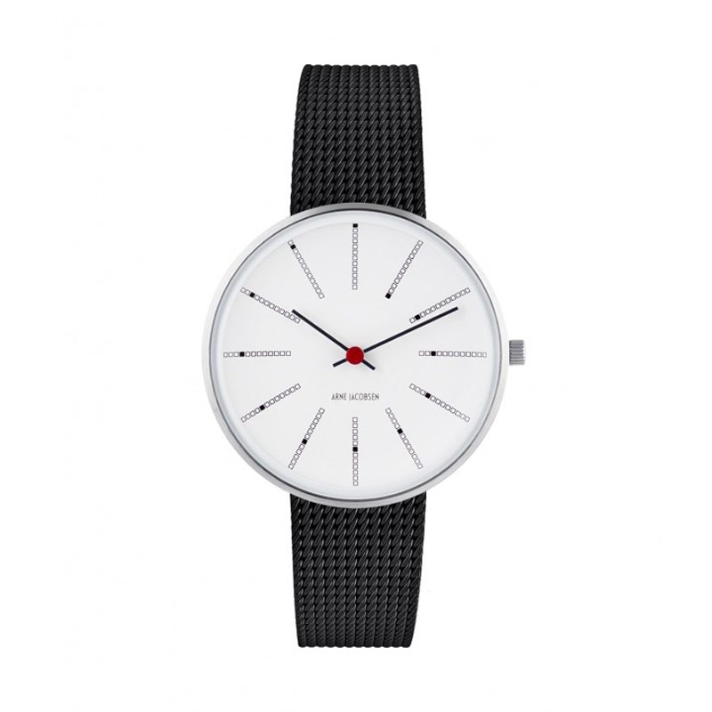 Image of Arne Jacobsen Bankers Watch 34 mm Unisexur, Stål ø med sort mesh lænke