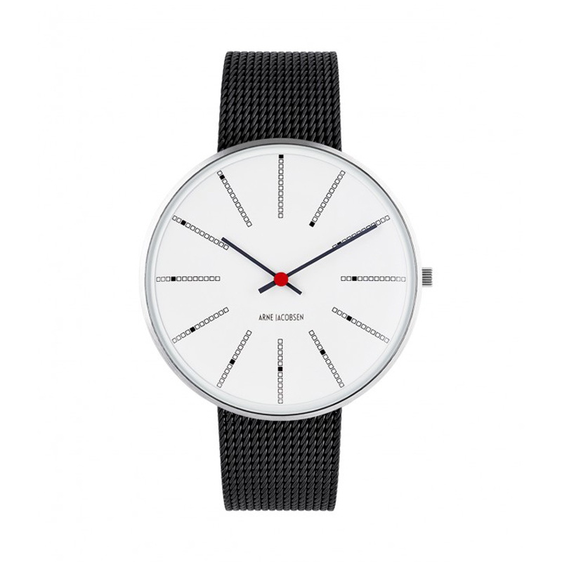Image of Arne Jacobsen Bankers Watch 40 mm Unisexur, Stål ø med sort mesh lænke
