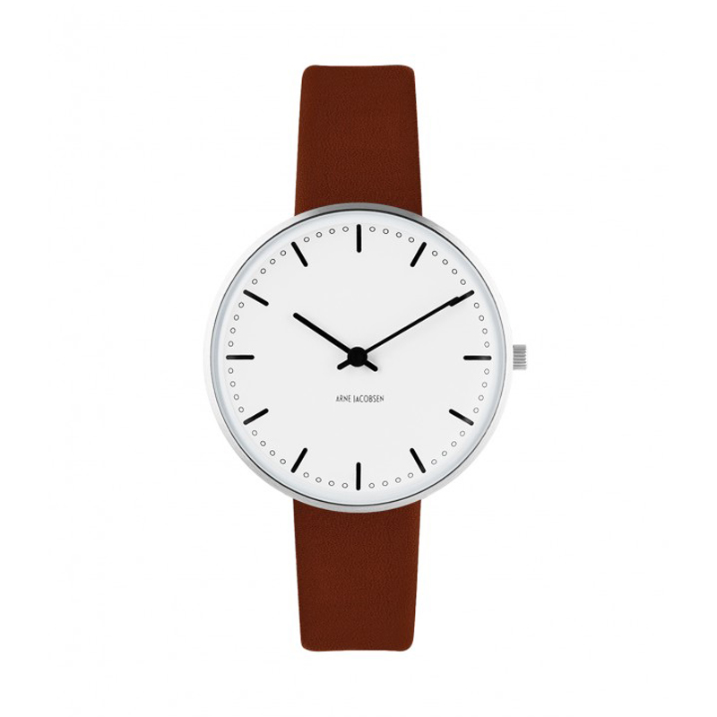 Image of   Arne Jacobsen City Hall Watch armbåndsur, ø34 mm med brun rem