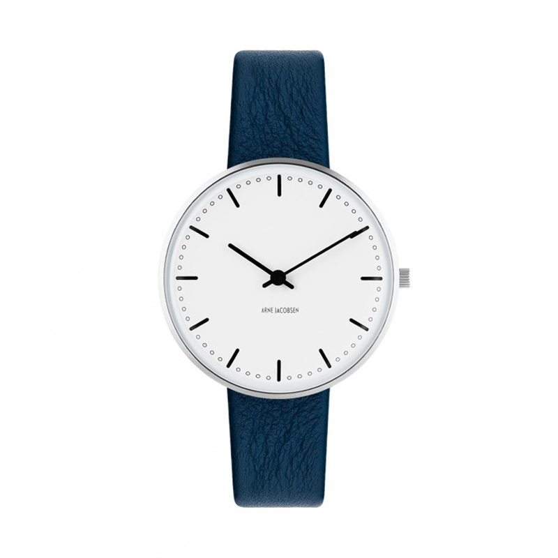 Image of Arne Jacobsen City Hall Watch armbåndsur, ø34 mm med mørkeblå rem