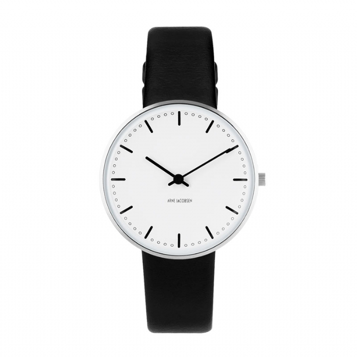 Image of   Arne Jacobsen City Hall Watch armbåndsur, ø34 mm med sort rem